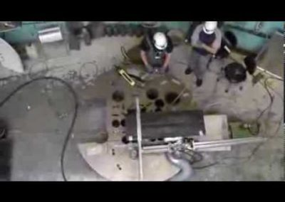 Blade cutting reactor lid Risö, Denmark.