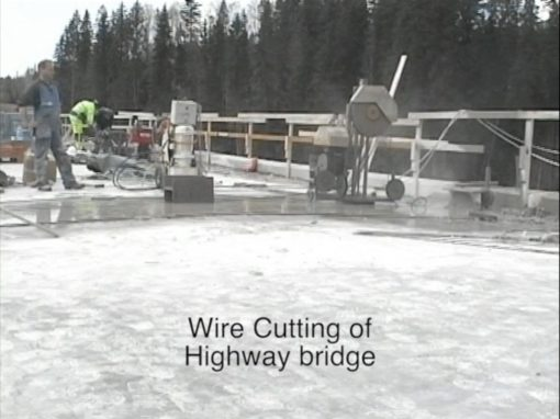 Wire cutting of highway bridge